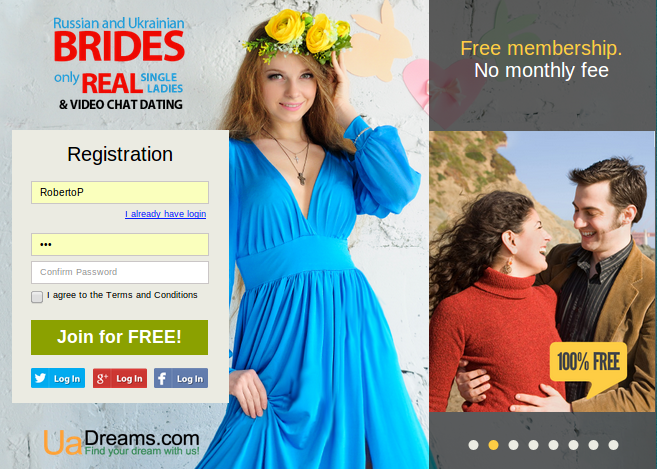 Uadreams matchmaking service offers free registration and membership for customers